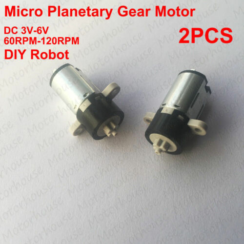 2pcs DC 3V 5V 6V 120RPM Micro Mini Planetary Reduction Gearbox Motor DIY Robot