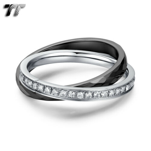 TT 3mm Stainless Steel Ceramics Double Band Ring 2019 NEW R418