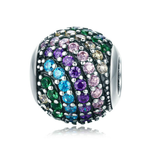 Authentic 925 Sterling Silver Iridescent Rainbow Bead Charm CZ Pendant Fit Chain