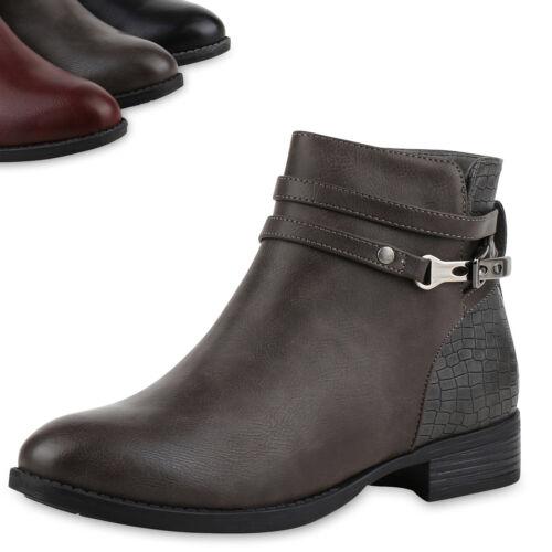 Damen Klassische Stiefeletten Kroko Schnallen Leder-Optik Schuhe 818225 Top