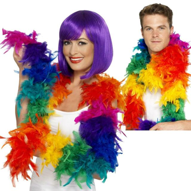 180cm Rainbow Feather Boa Gay Pride LGBT Parade Multi Colour 60s 70s Hippy Adult