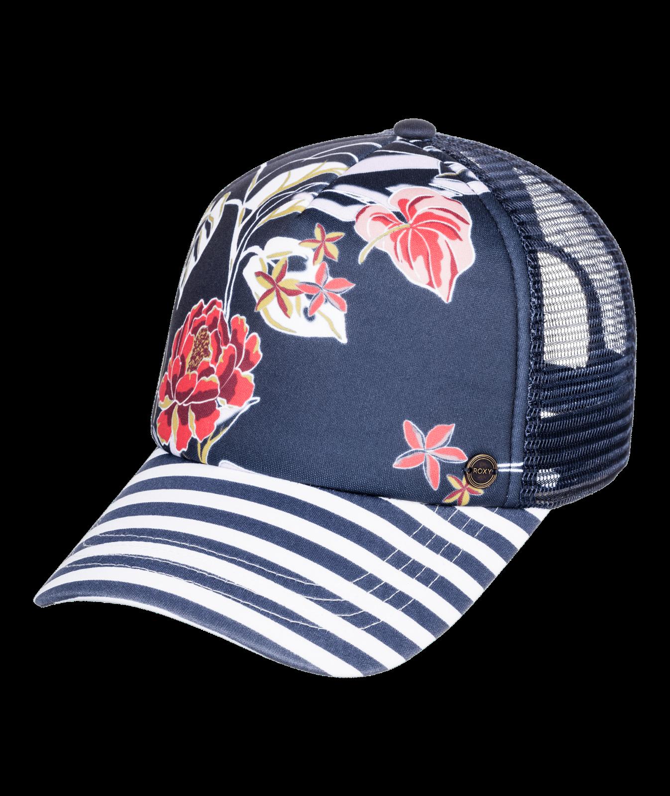 Roxy Mujer Gorra de Béisbol. nuevo Hermoso mañana a Rayas Azul Marino Snap Camionero Sombrero W21
