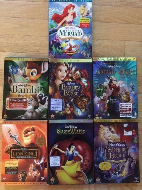 7 DISNEY DVDs: Bambi Fantasia Lion King Beauty & Beast Snow White Sleeping Beaut