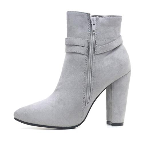 Women Ladies Chunky Block High Heel Shoes Smart Formal Biker Chelsea Ankle Boots
