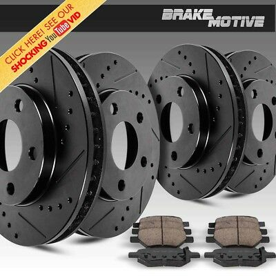 For 2007-2011 Ford Mustang Front Rear Black Slotted Brake Rotors+Ceramic Pads