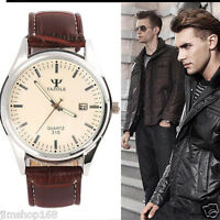 UK Mens Blue Ray Glass Watches Leather Stainless steel Quartz Analog Wrist Watch