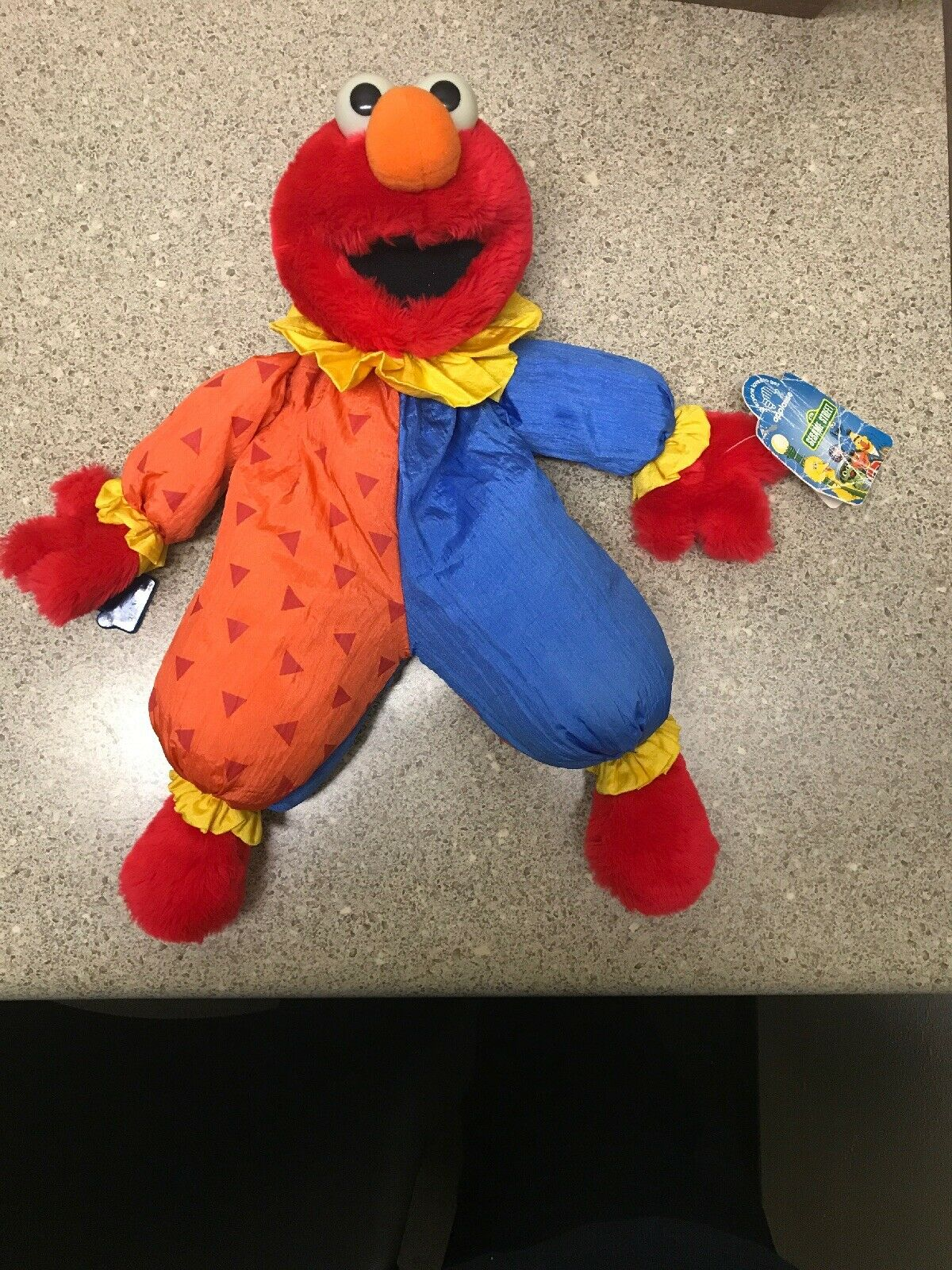 Vintage 1980s Applause Sesame Street ELMO Clown Floppy Plush Parachute Nylon NWT