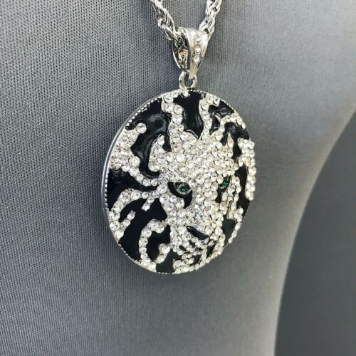 Unique Long Silver Rope Chain Black Clear Rhinestone Lion Style Pendant Necklace