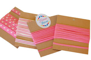 20-Yards-of-Mixed-Grosgrain-and-Woven-Trimming-Ribbon-in-Hot-Pink