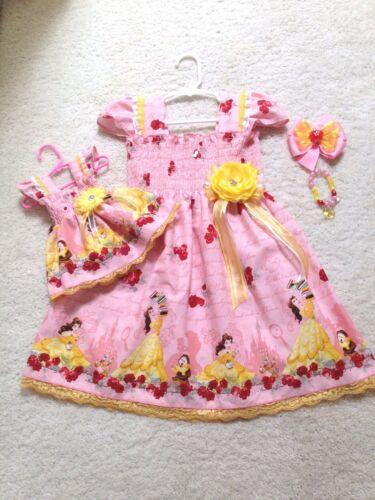 Doll Dress 2T-9//10 Handmade Pink Princess Belle Beauty//Beast Dress Toddler//Girls
