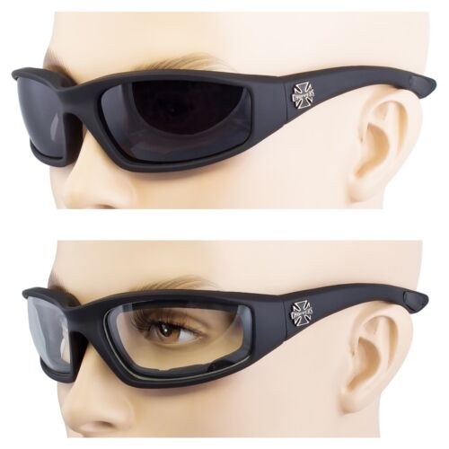 2 Pair Chopper Wind Resistant Sunglasses Sport Motorcycle Riding Glasses Black C