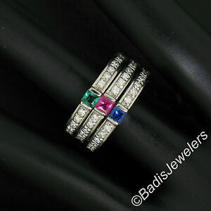 18k-White-Gold-Set-of-3-Emerald-Ruby-Sapphire-amp-Diamond-Stackable-Band-Rings