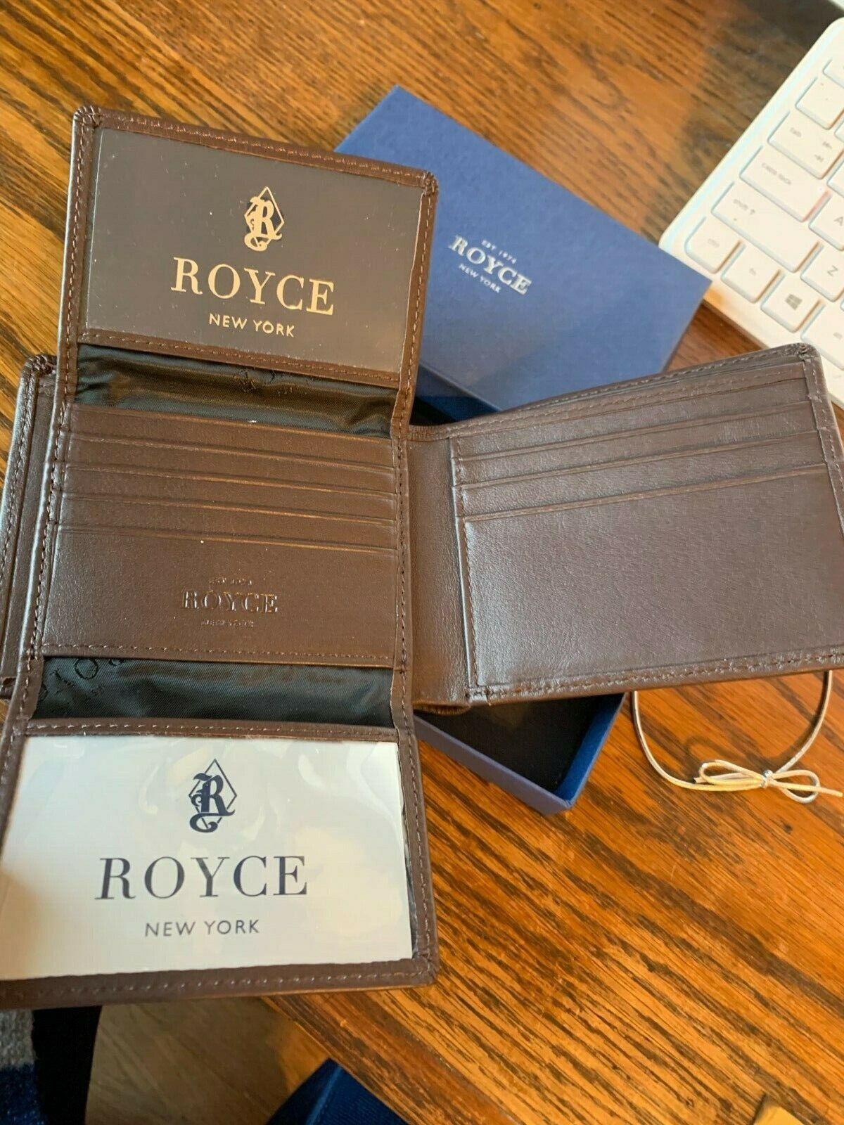 NEW IN BOX ROYCE NEW YORK BROWN MENS WALLET WITH FREE SHIPPING
