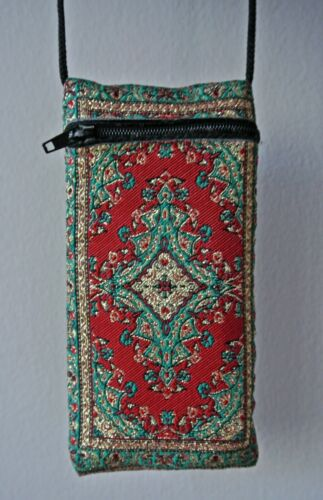 Card-Money Holder with Long Strap Zip Purse Kilim Tapestry Fabric Phone Case