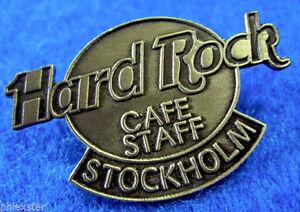 Stockholm-Suede-Baton-Antique-Argent-Ovale-Logo-Tac-Arriere-Hard-Rock-Cafe-Pin