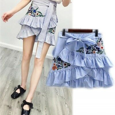 Women lady Embroidered Stripe Tiered Ruffle Skirts Lace Up Midi Blue Frill Dress