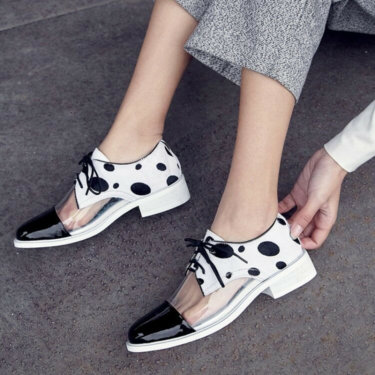 nuovo donna Round Toe Lace up Flat Dot pattern Transparent Flats Oxfords sautope