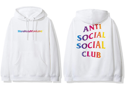 DS Anti Social Social Club ASSC rainbow Logo More Hate More Love White Hoodie | eBay