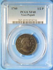 1760 Voce Populi Colonial Copper Half Penny 1/2 P PCGS XF40 Extremely Fine