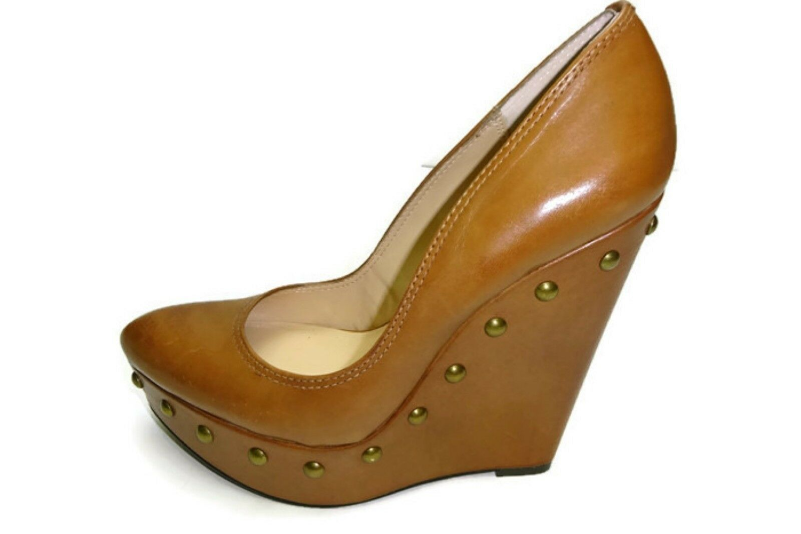 Donald J Pliner Women's Eliza Platform wedge studs shoes, Brown, 6.5
