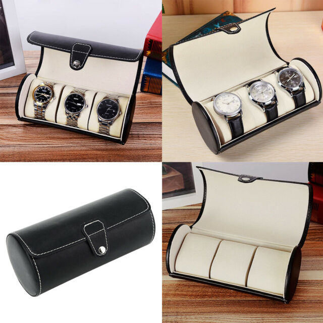 3 Slot Watch Box Travel Case Wrist Roll Jewelry Storage Collector Organizer