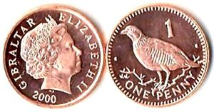 One-Hundred-100-Gibraltar-1-Pence-Coins-Uncirculated-KM-773-Quail-Bird