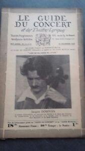 Rivista Il Guida Del Concerto E Delle Teatri Lirica 1929 N° 12-13-14 J.Dorfman