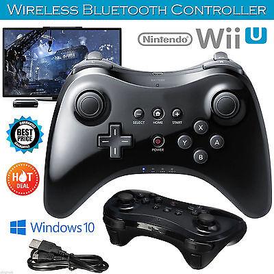 Wireless Nintendo Wii U Pro Controller Gamepad Joypdad Remote USB Cable UK Black