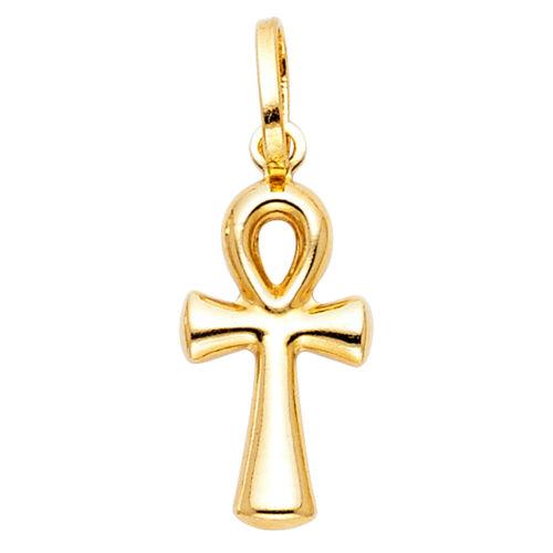 14k Yellow Gold Ankh Cross Christ Crucifix Jesus Small Pendant Charm Free Chain