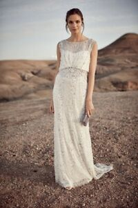Phase-Eight-Hope-Ivory-Sequin-Lace-Trail-Bridal-Wedding-Gown-Dress-UK-6-8