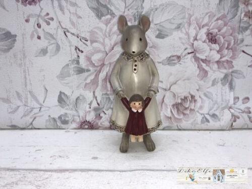 Deko Figur Maus Landmaus mit Puppe Vintage Landhaus