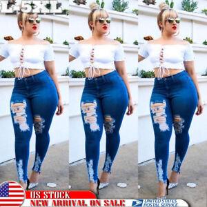 US-Plus-Size-Womens-Distressed-Ripped-Denim-Pants-Skinny-High-Waist-Pencil-Jeans