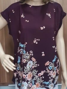 Ex-F-amp-F-Ladies-Wine-Floral-Print-Drop-Back-Tunic-Top-Size-10-22