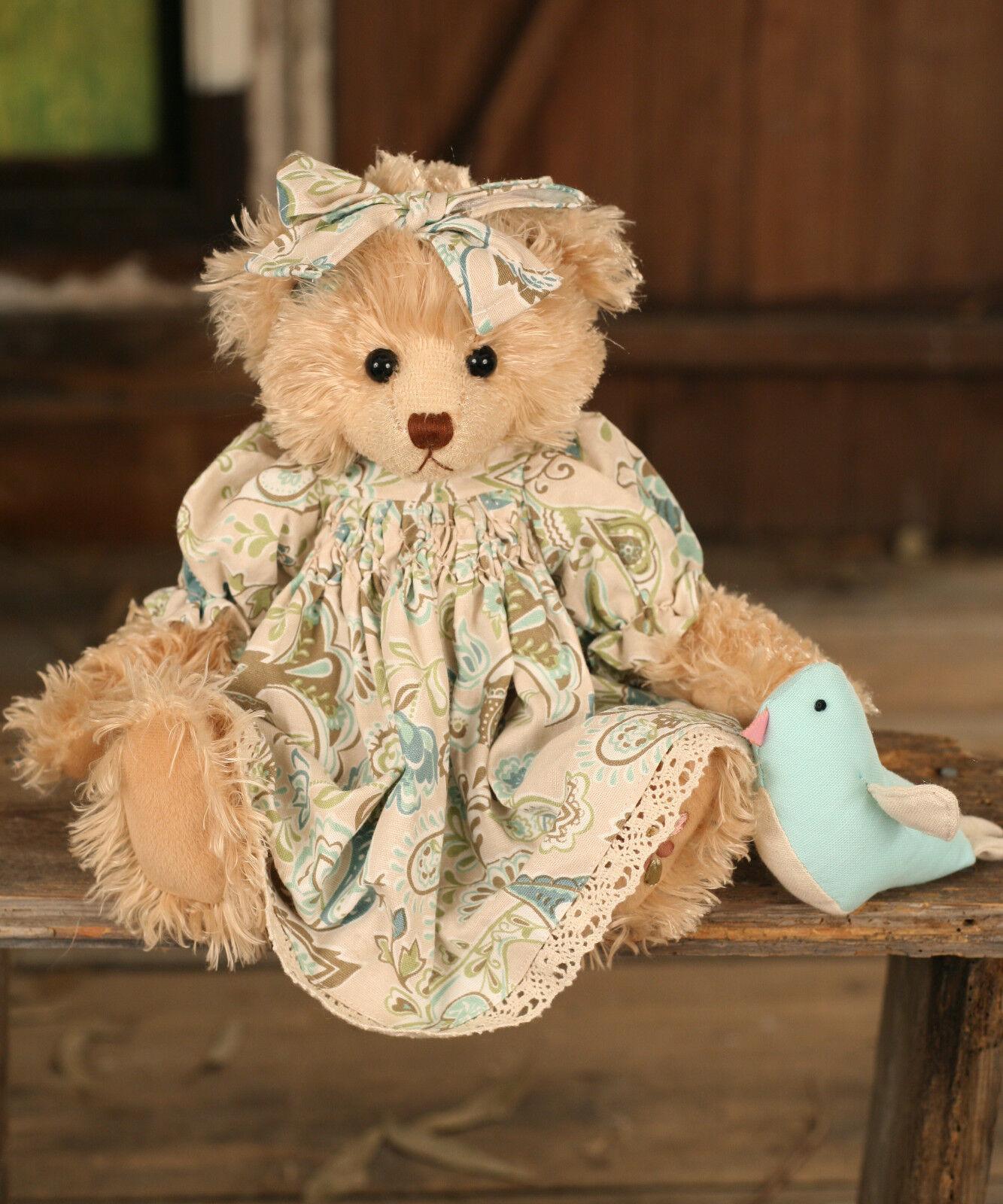 Teddy Bear 'Carmel' Settler Bears Handmade Linen Dress Collectable Gift 38cms