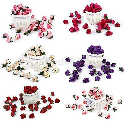 50pcs Artificial Rose Buds Silk Flower Heads for Wedding Party Garden Decor