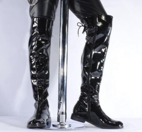 Men/'s Military Cuir Verni moto Zipper Over Knee High Top Bottes Décontractées