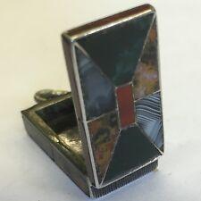Antique White Metal Silver? Hard Stone Miniature Vesta Pendant Scottish Specimen
