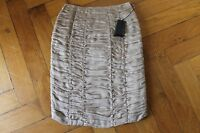 BURBERRY PRORSUM geraffter Rock it 44 dt 36 38 beige 100% Seide ORIGINAL Runway