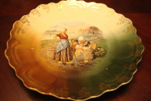 Antique Punch Z S & Co Bavaria German Figural Plate, Women in the Field#18
