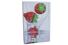 Leinwandbild Erdbeeren für Küche 60x40cm Obst Früchte Keilrahmen weiß rot Bilder