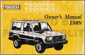1989 isuzu trooper and trooper ii owners manual original owner user rh ebay ie isuzu rodeo owners manual pdf isuzu d'max owners manual