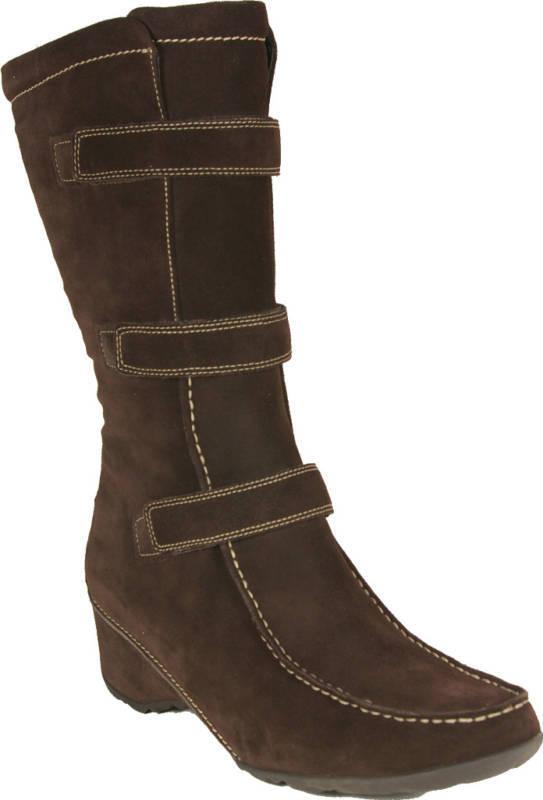ECCO Stiefel Langschaft Keilabsatz Leder Größe 41 braun echt Leder Keilabsatz NEU 88cbd9