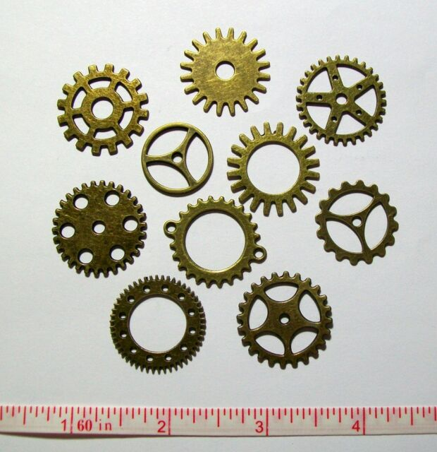 Gears Cogs Clock Parts 20pcs Lot Antiqued Brass Steampunk Altered Art Jewelry