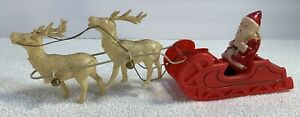 Vintage-Celluloid-SANTA-CLAUS-amp-SLEIGH-WITH-2-REINDEERS-Christmas-JAPAN-1930-039-s