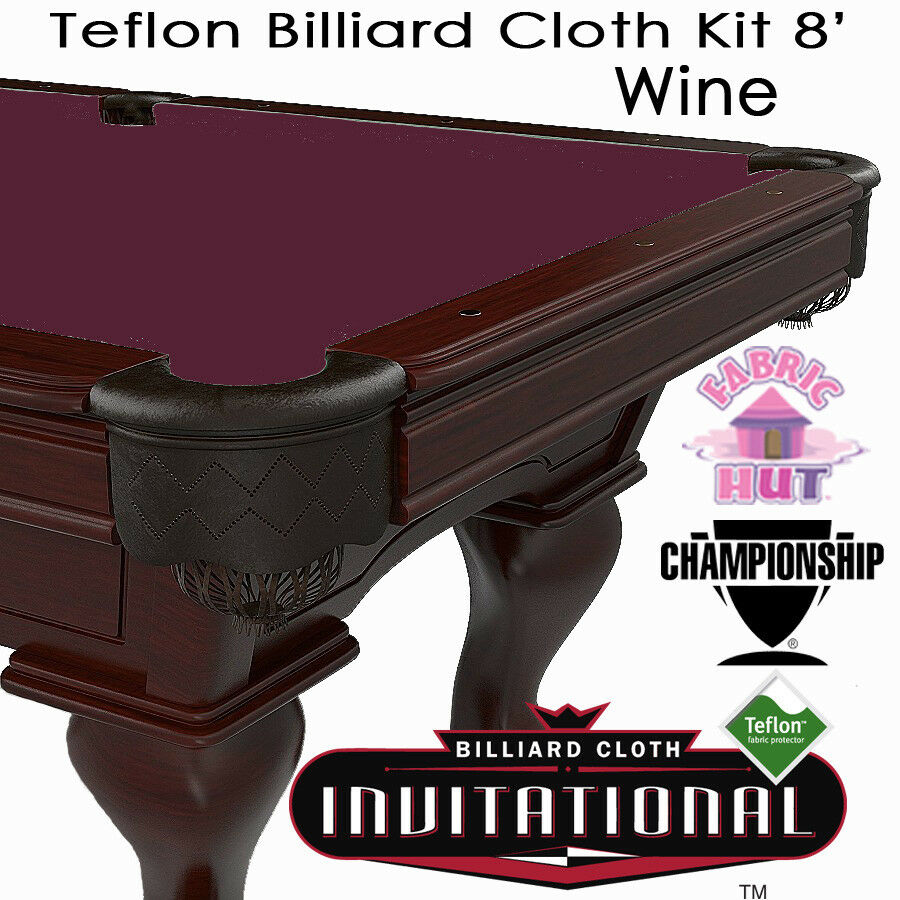 Championship Invitational Teflon Woolen Billiard Pool Table Cloth Wine 8'