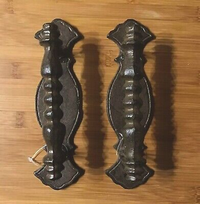 Antiques Architectural & Garden Expressive Pair Of Large Cast Iron Door Handle/pulls