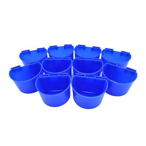 10pcs Cup Hanging Water Feed Cage Cups Yard Gamefowl Poultry Pet Rabbit&Chicken