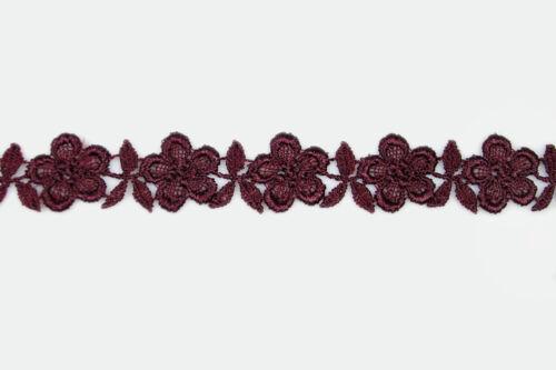 """3//4/"""" 0.75/"""" Blanco Negro Marfil Borgoña Floral ajuste del cordón de Venecia Blonda a mano por yarda"""