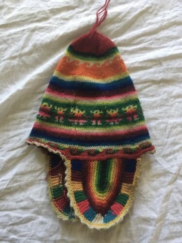 hand knit hat from Peru alpaca wool beanie stockin