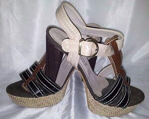 Scarpe-donna-Sandali-37-Tacco-Plateau-pelle-Vernice-Camoscio-Woman-Shoes-Schuhe